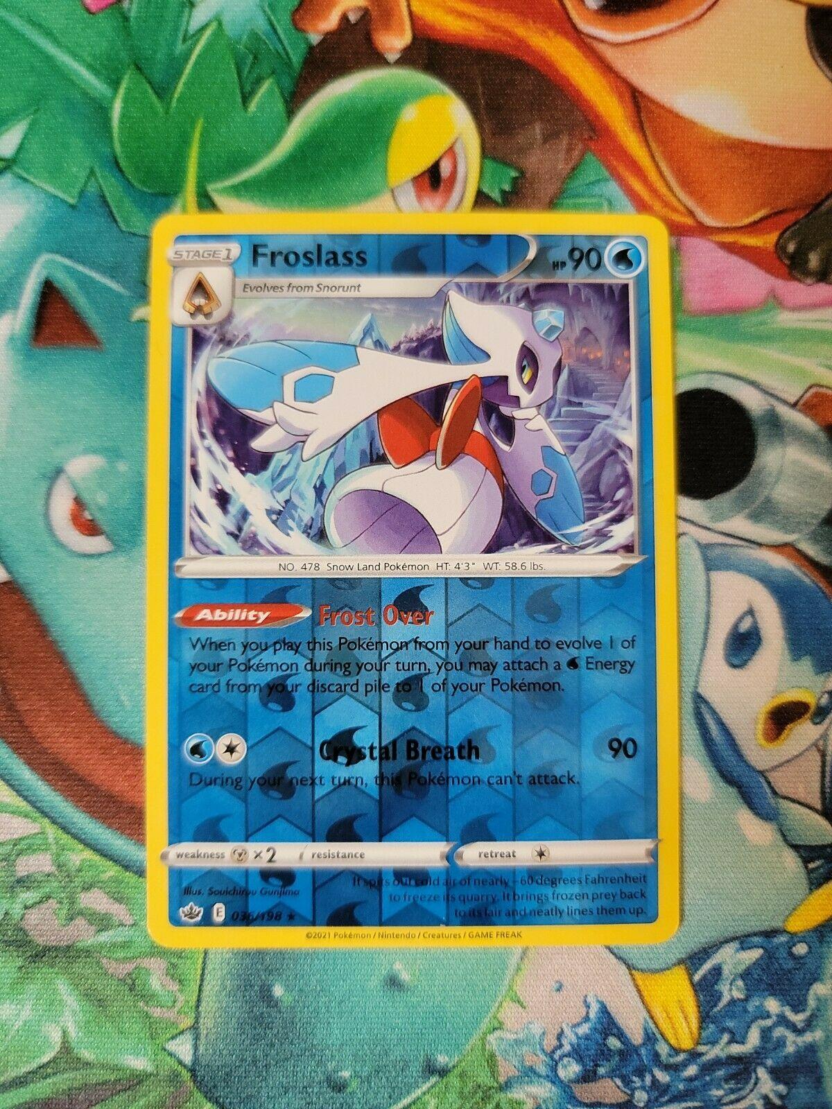 Pokemon Rare Reverse Holo Foil Froslass Card 036/198 SWSH Chilling Reign