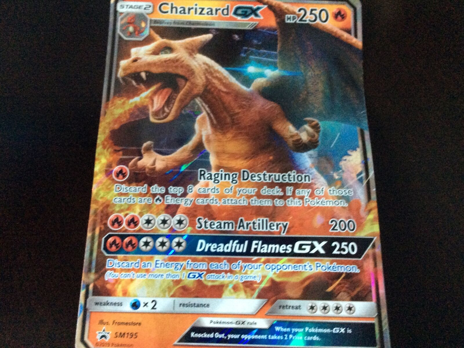 🔥 JUMBO Pokemon CHARIZARD GX Card BLACK STAR Promo SM195