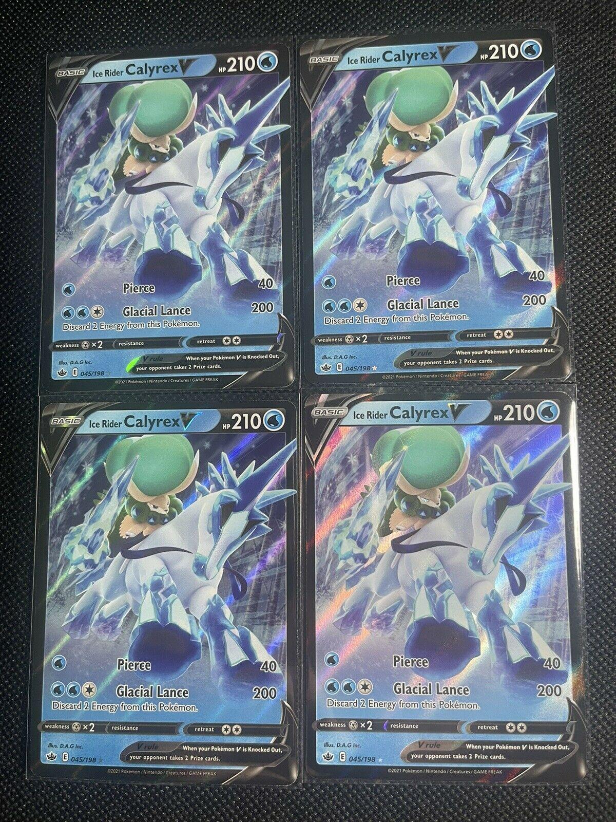 4x Ice Rider Calyrex V Ultra Rare - 045/198 Pokemon TCG Chilling Reign NM