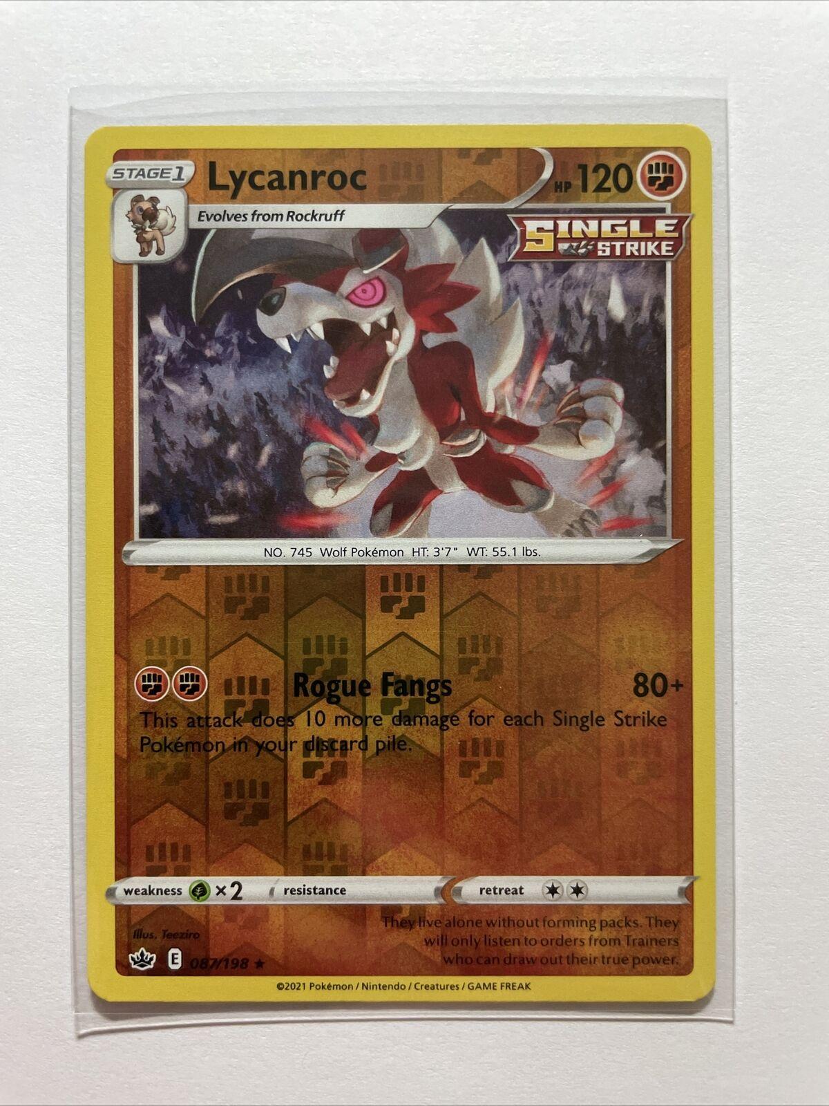 Lycanroc 087/198 Reverse Holo Rare Chilling Reign Pokemon Card - MINT