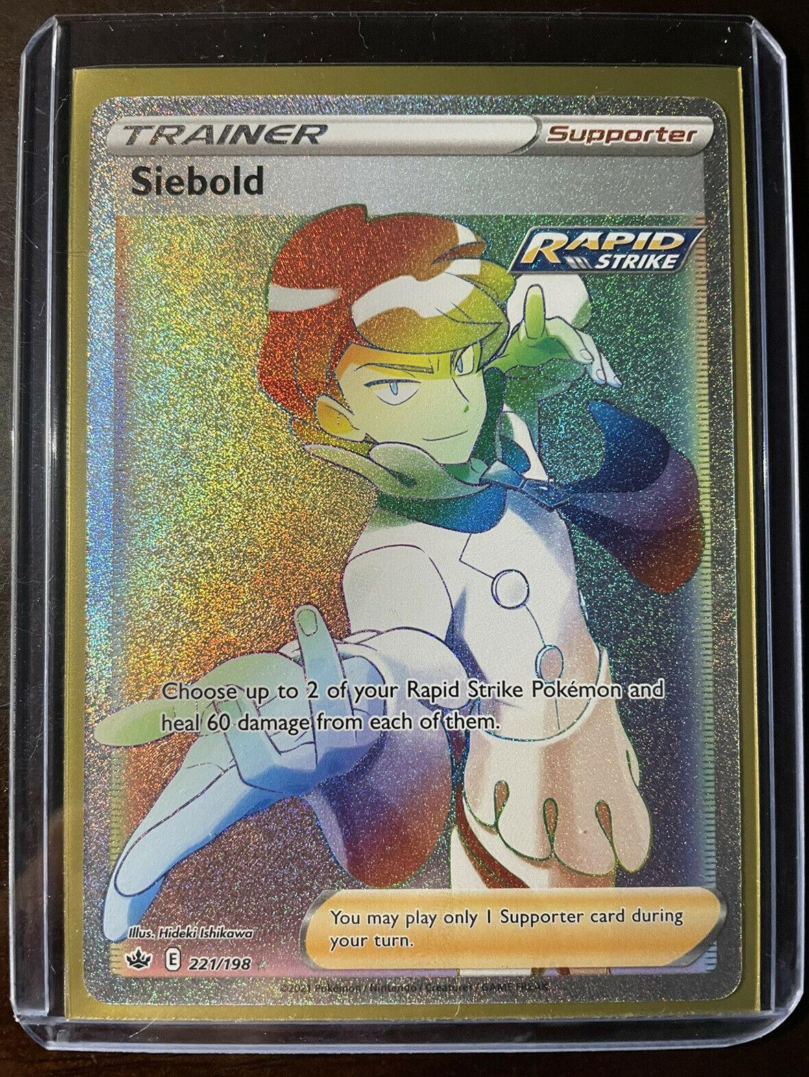 Pokemon Chilling Reign Siebold 221/198 🌈Full Art Rainbow Secret Rare🌈 M/NM