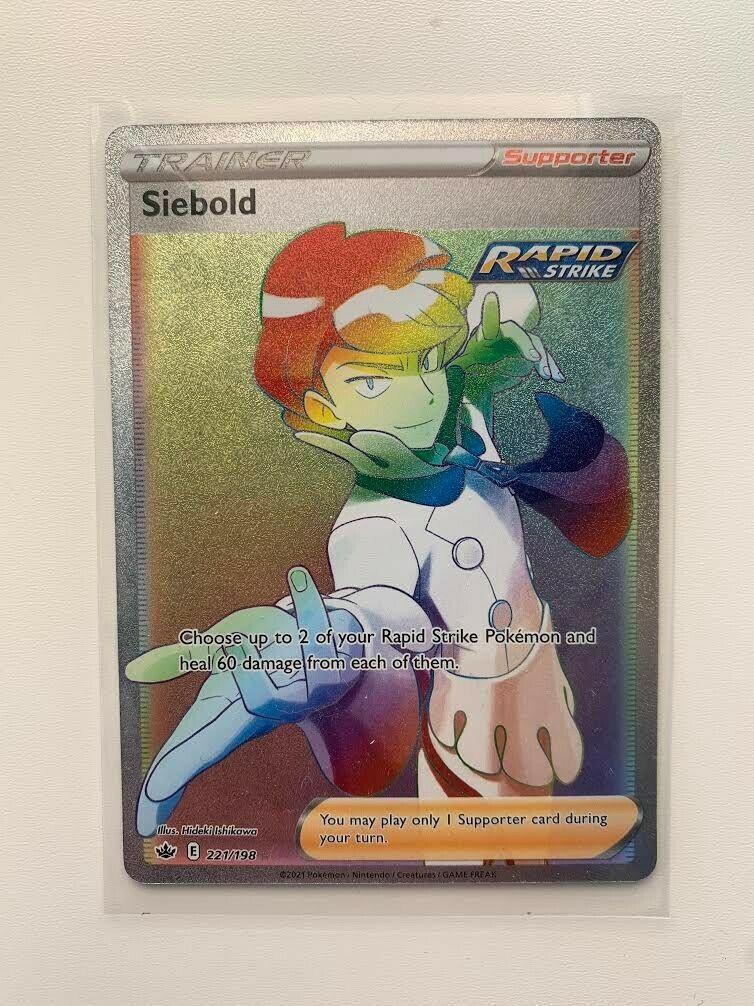 Pokemon Chilling Reign Siebold 221/198 🌈Full Art Rainbow Secret Rare