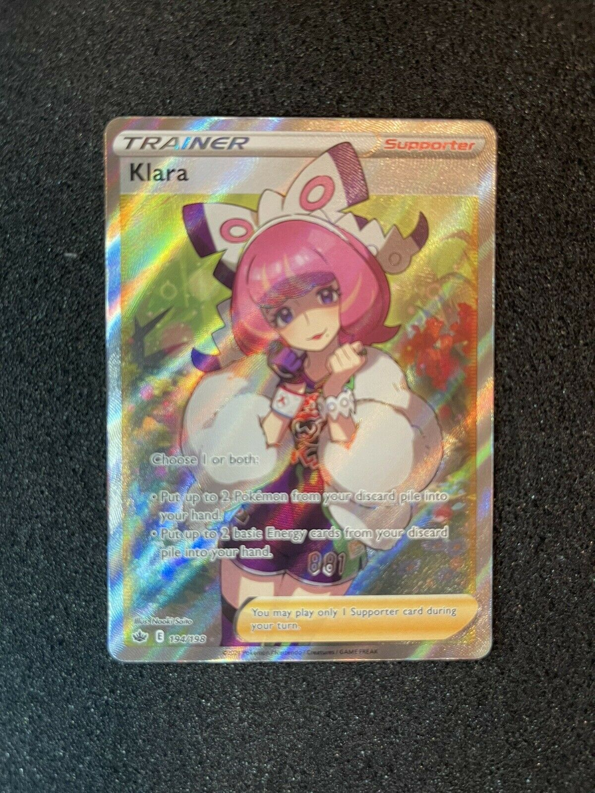 Pokémon Klara Trainer 194/198, Full Art Holo Rare, Chilling Reign