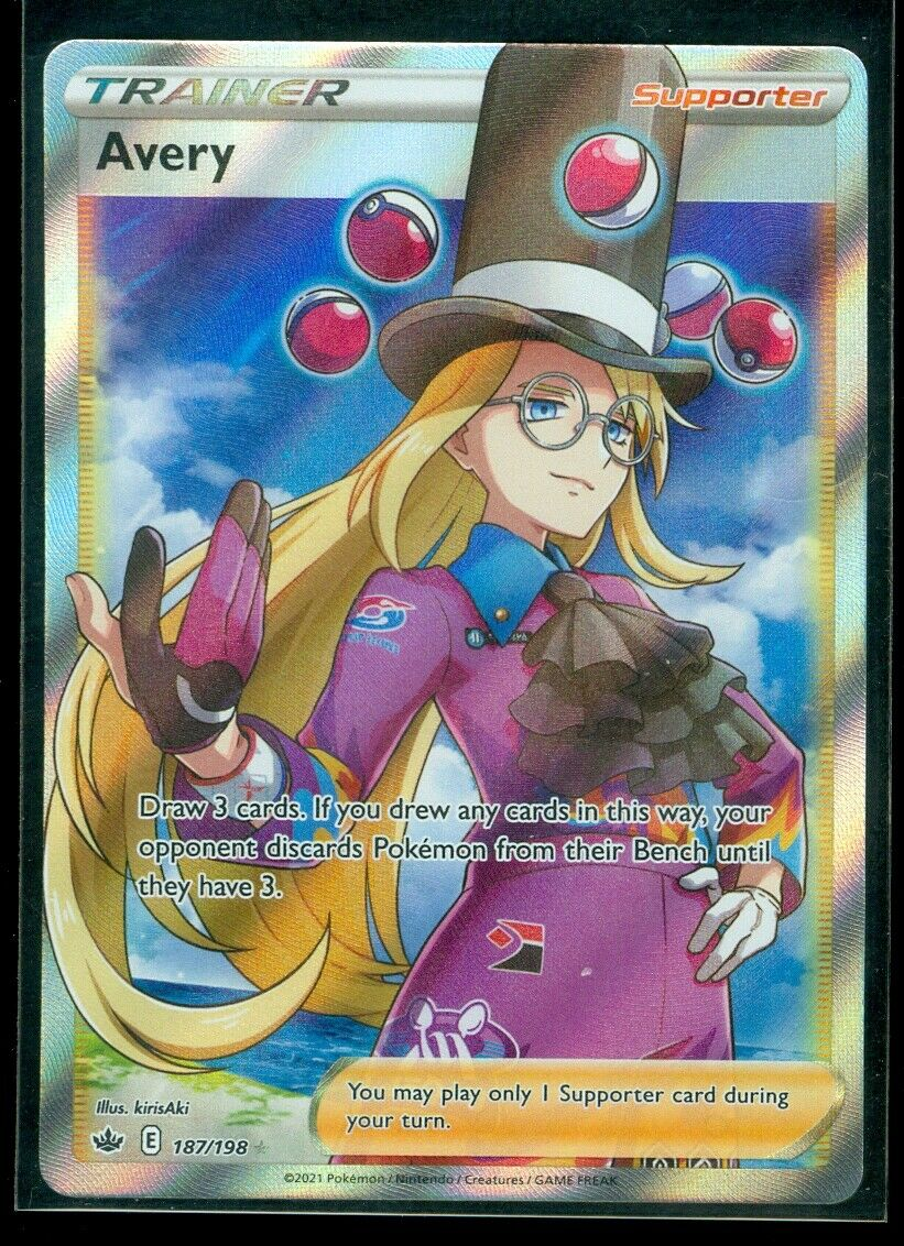 Pokemon AVERY 187/198 Chilling Reign RARE FULL ART - MINT