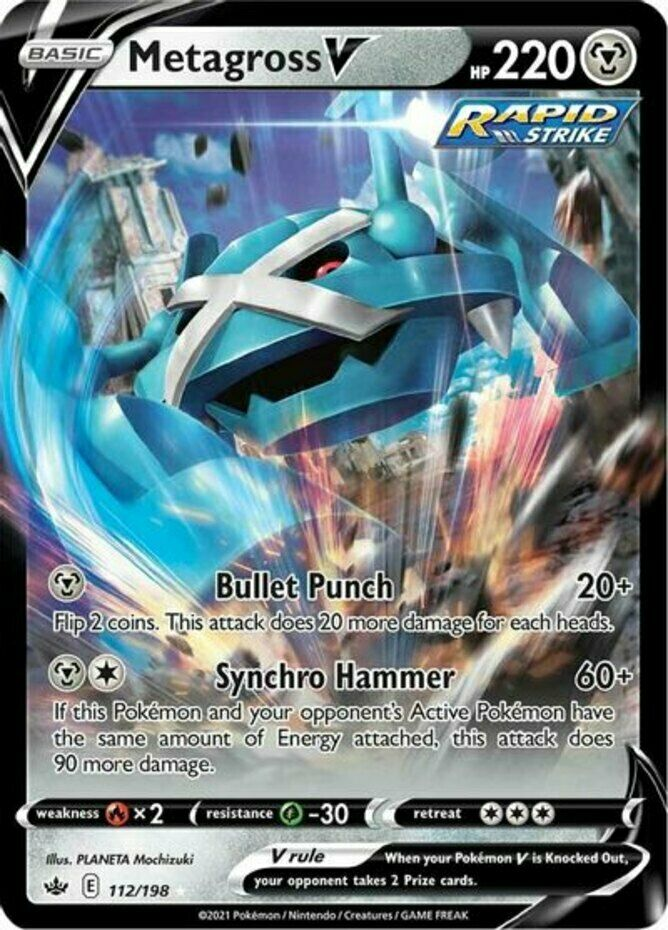 x1 Metagross V - 112/198 - Ultra Rare Pokemon SS06 Chilling Reign M/NM