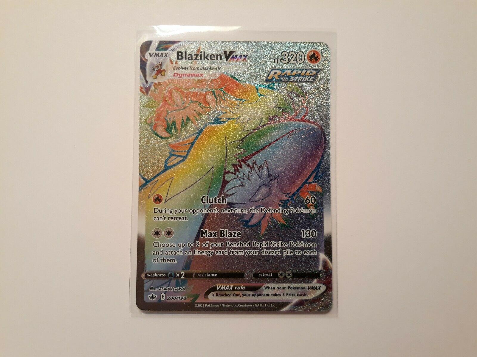 Pokemon   Blaziken VMAX 200/198   Secret (Rainbow) Rare   Chilling Reign   NM