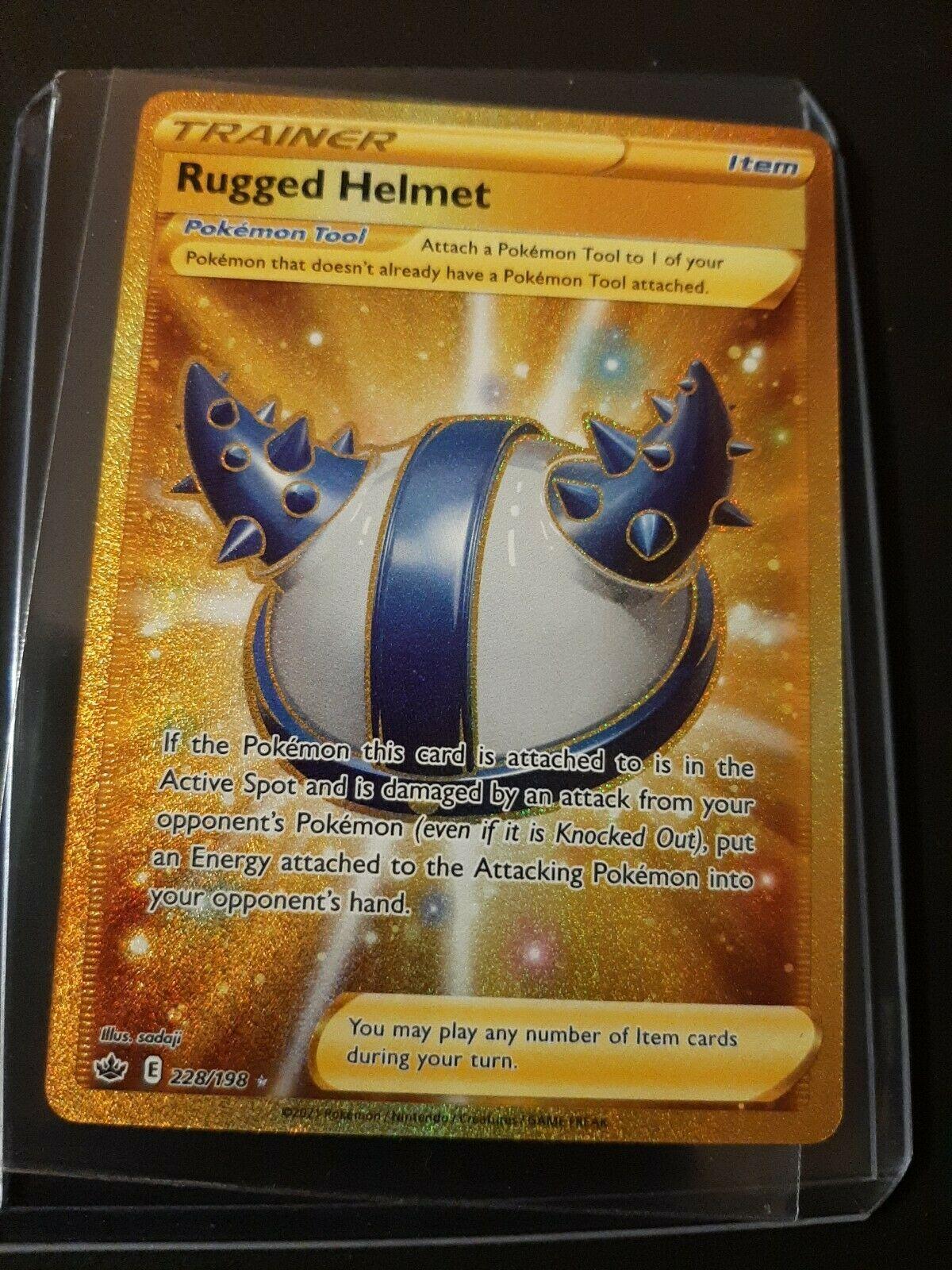 💰Rugged Helmet 228/198 Gold Secret Rare Chilling Reign Pokemon MINT PACKFRESH💫