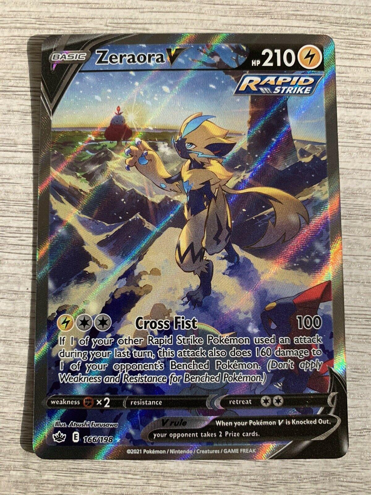 Pokémon TCG Chilling Reign Zeraora V(Alternate Full Art) Ultra Rare Mint 166/198