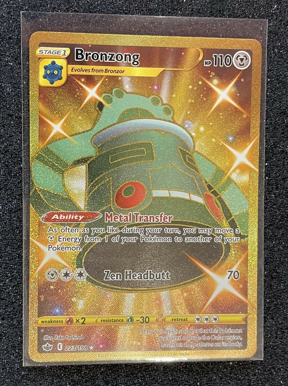Pokemon Gold Bronzong Secret Rare - Chilling Reign (223/198)
