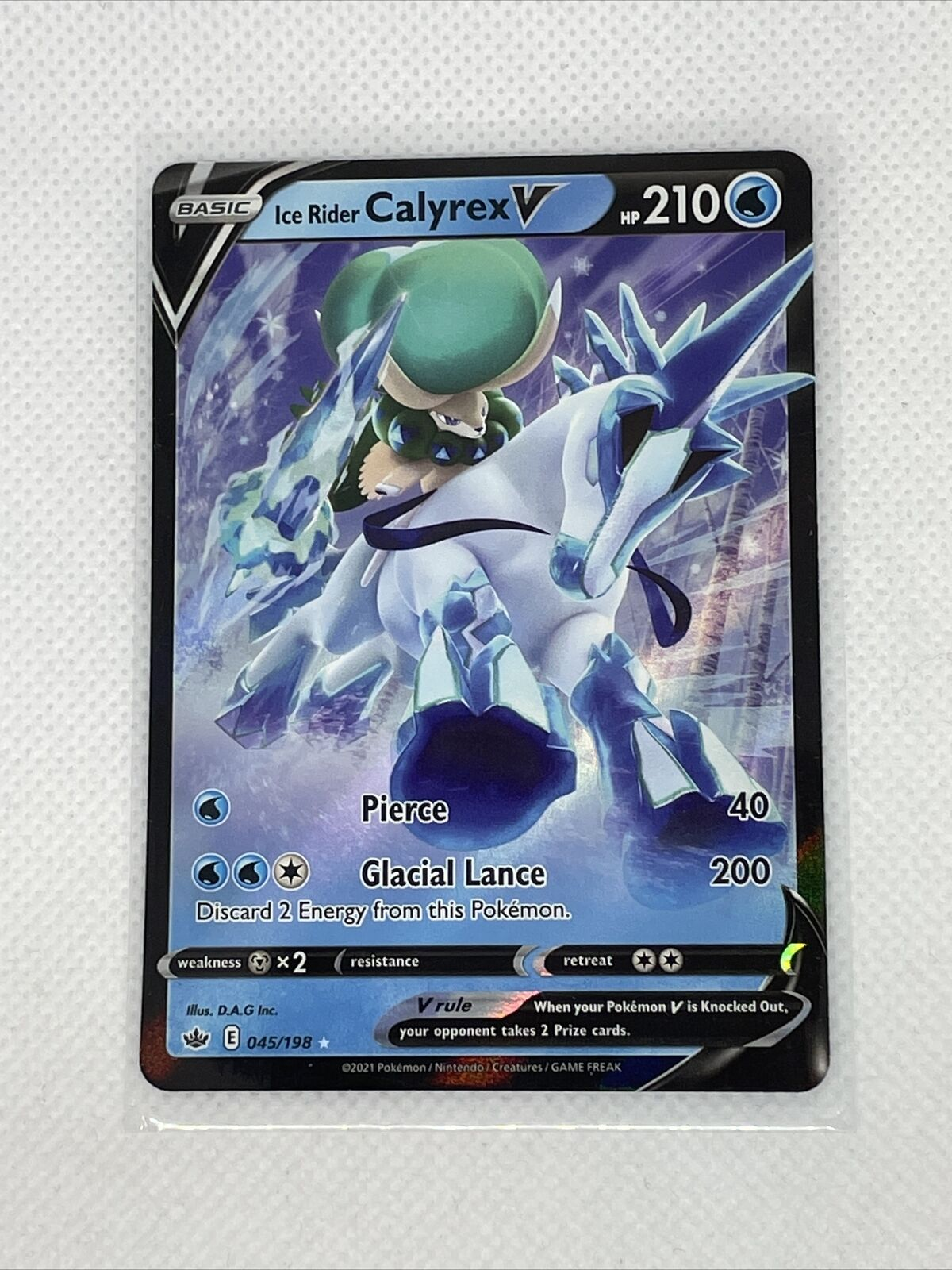 Ice Rider Calyrex V 045/198 Full Art NM/M Chilling Reign Pokemon Card