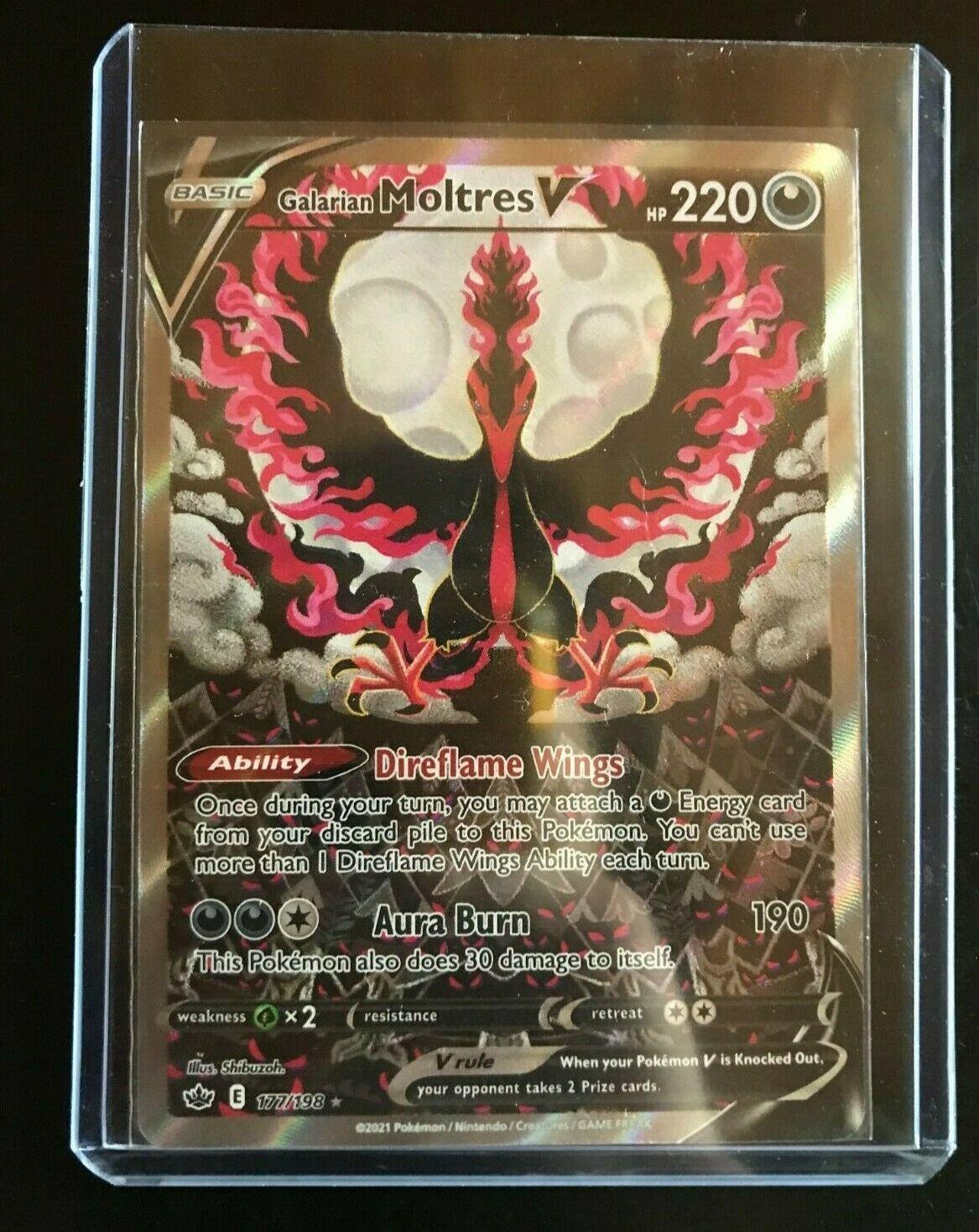 Pokemon Galarian Moltres V 177/198 Alternate Full Art Chilling Reign