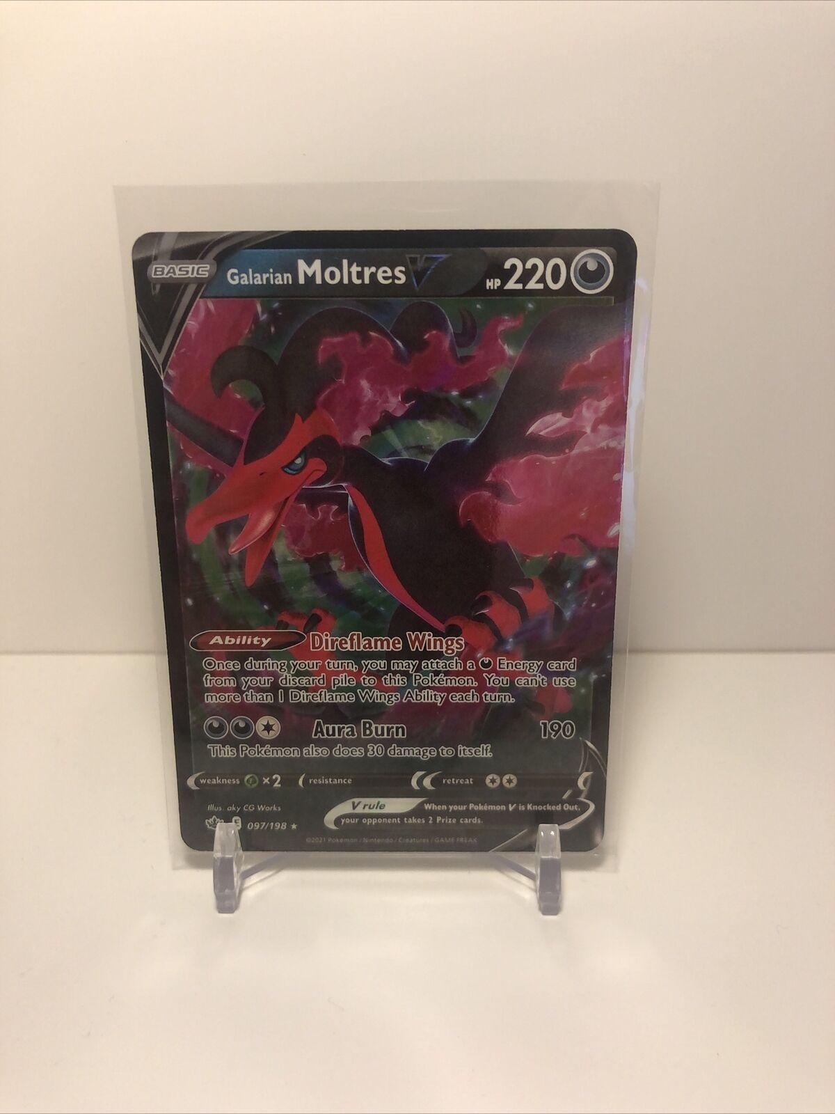Galarian Moltres V Pokémon Card (Chilling Reign 097/198) Ultra Rare