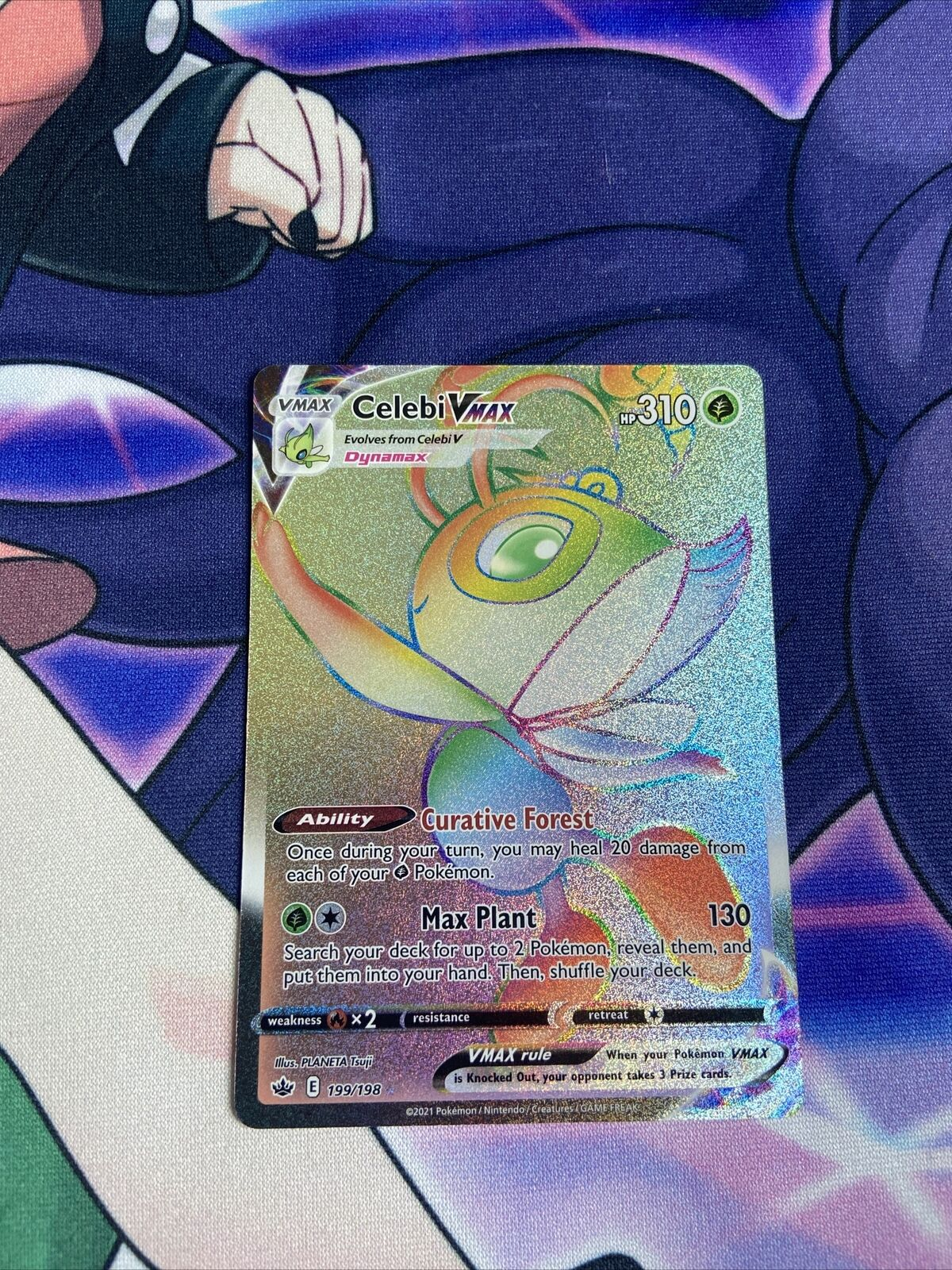 Pokémon TCG Rainbow Rare Celebi VMAX -Secret Rare -199/198 - Chilling Reign Mint