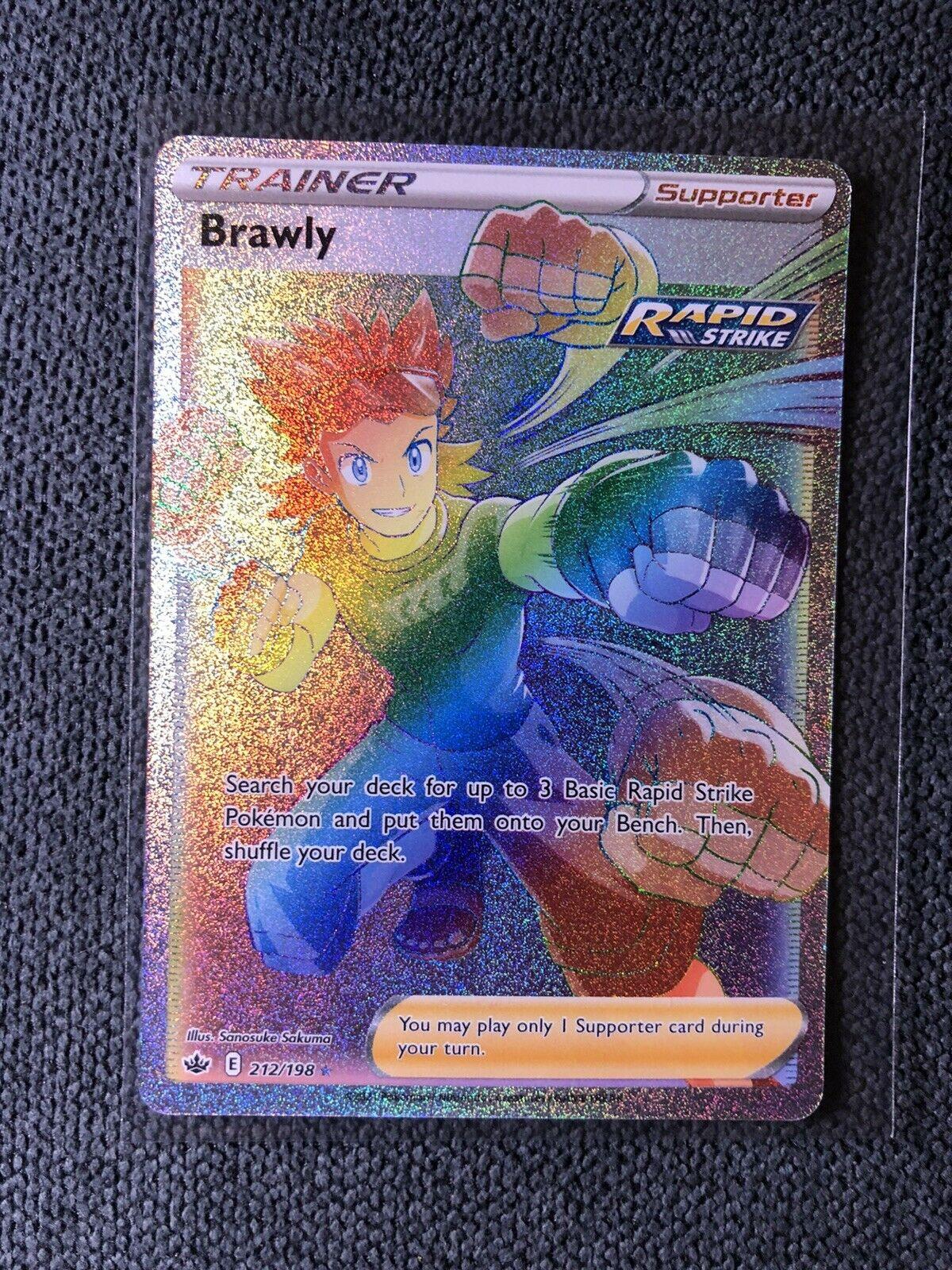 Pokémon Brawly Full Art Rainbow Rare 212/198 Chilling Reign NM/Mint