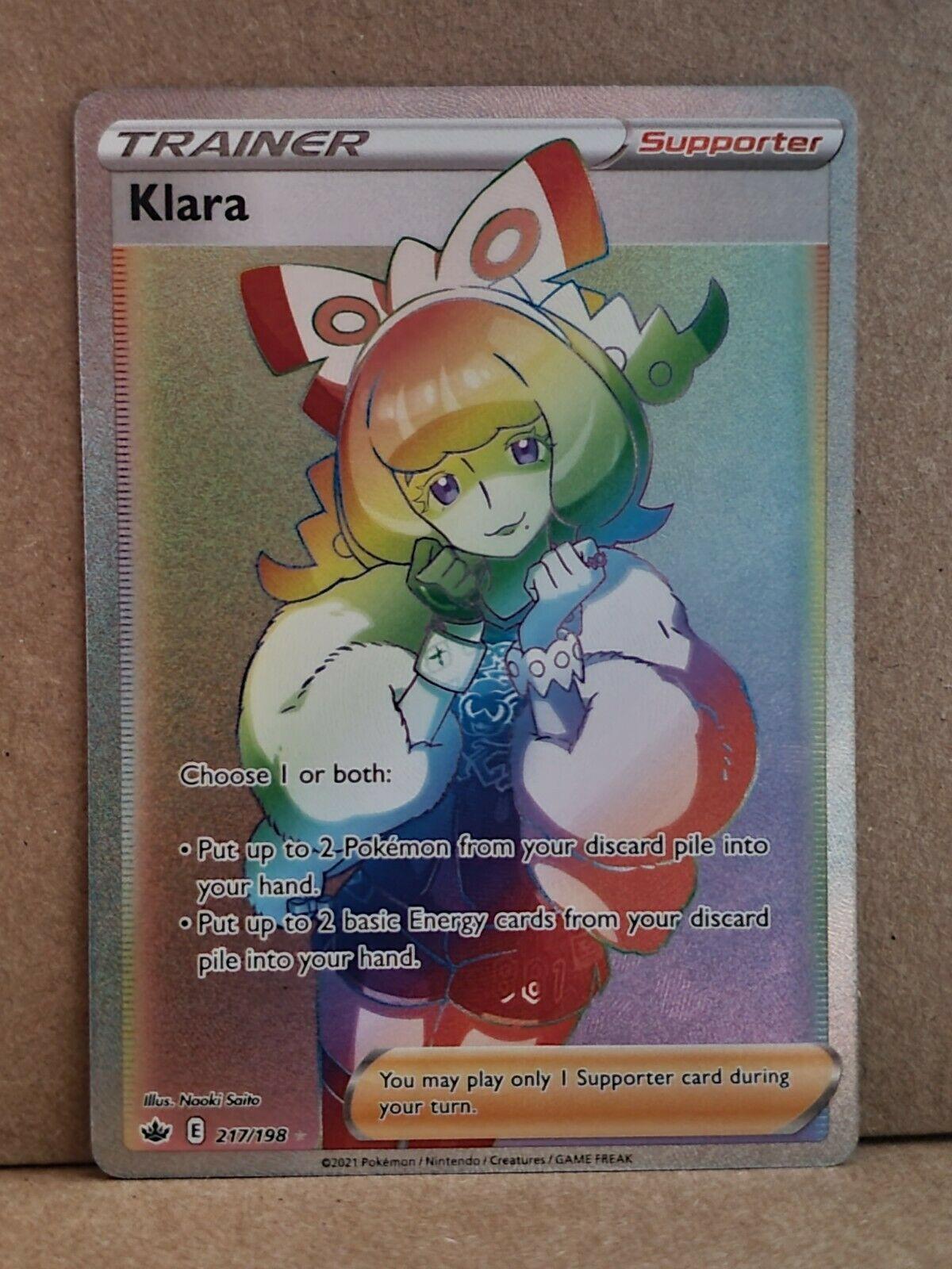 Klara 217/198 Rainbow Secret Full Art Trainer Chilling Reign Pokemon Card Mint