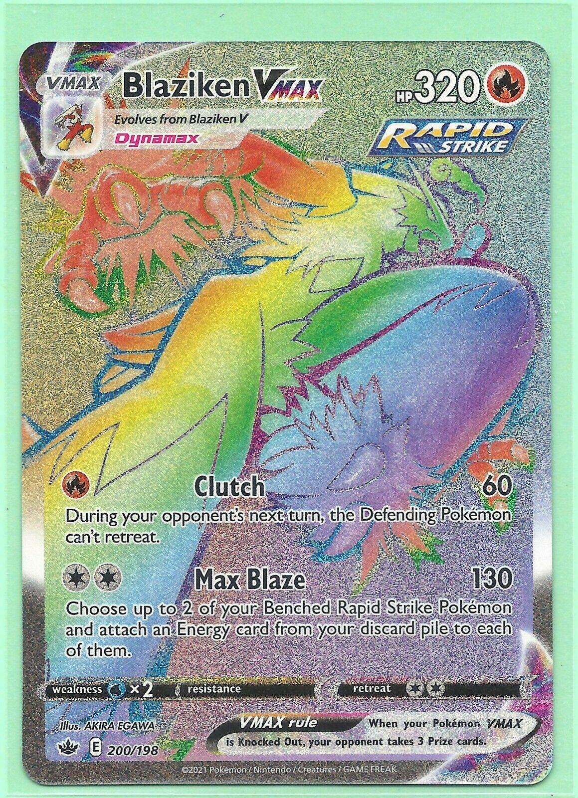 BLAZIKEN VMAX 200/198-CHILLING REIGN POKEMON CARD RAINBOW SECRET RARE-MINT-FRESH