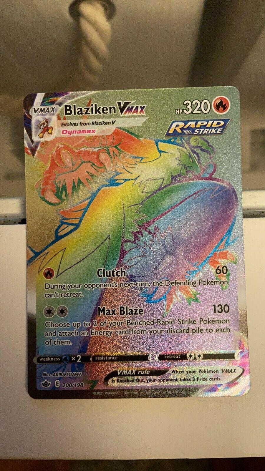 Blaziken VMAX 200/198 NM Rainbow Secret Holo Rare Chilling Reign Pokemon Card