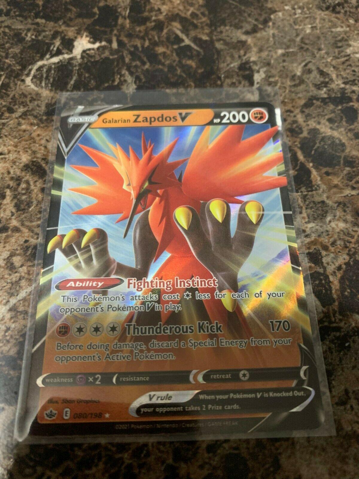 Galarian Zapdos V 080/198 Pokemon Chilling Reign Fresh Pull NM/M