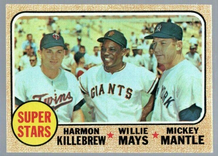 1968 Topps 490 Super Stars Willie Mays Mickey Mantle Harmon Killebrew EX+ - Image 1