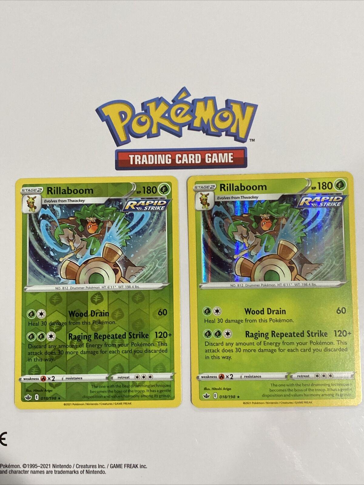 Pokemon Chilling Reign Rillaboom Holo & Reverse Holo 18/198 Trading Card 018/198
