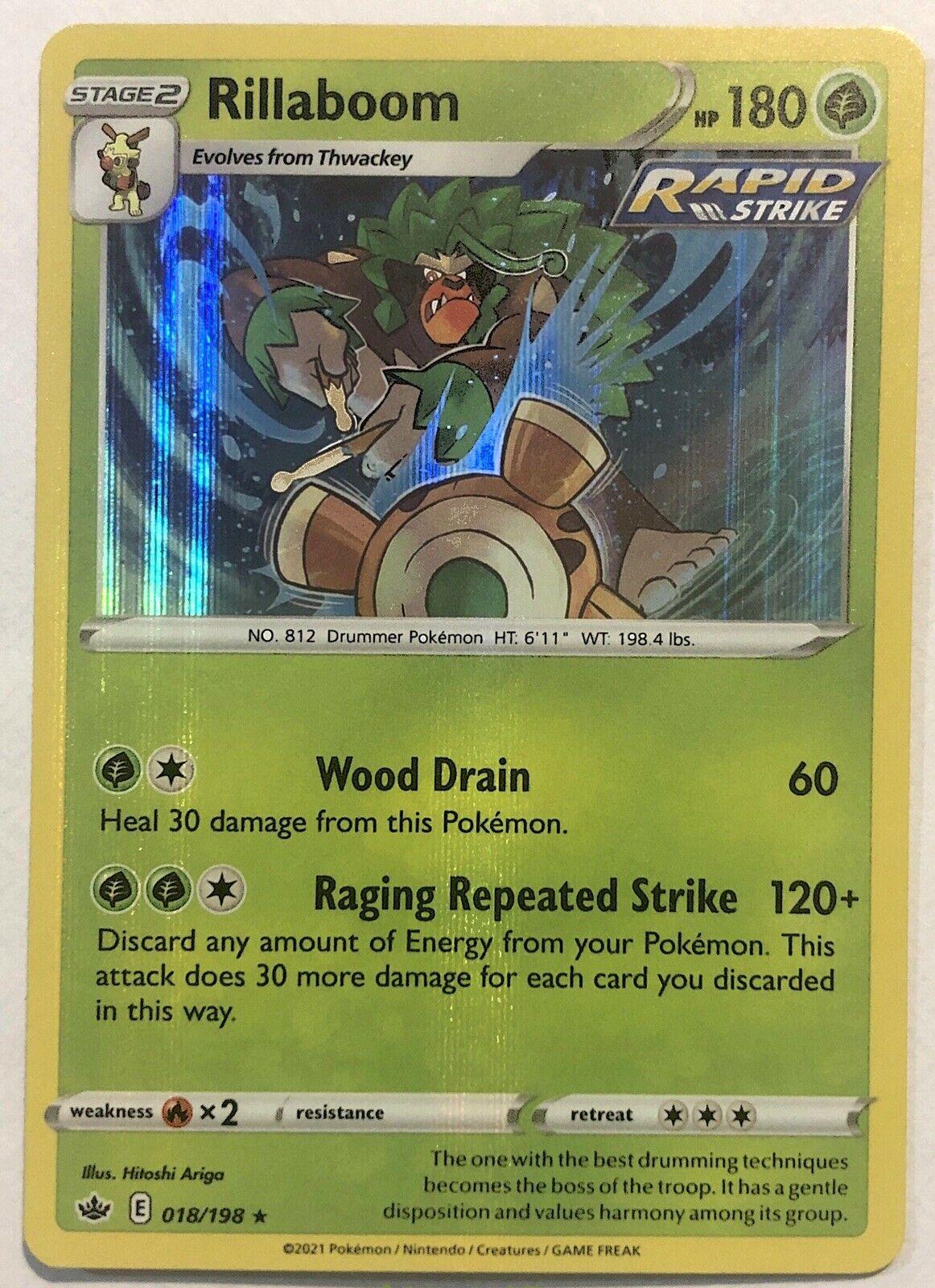 Rillaboom Rapid Strike Holo ~ Pokemon Chilling Reign 018/198