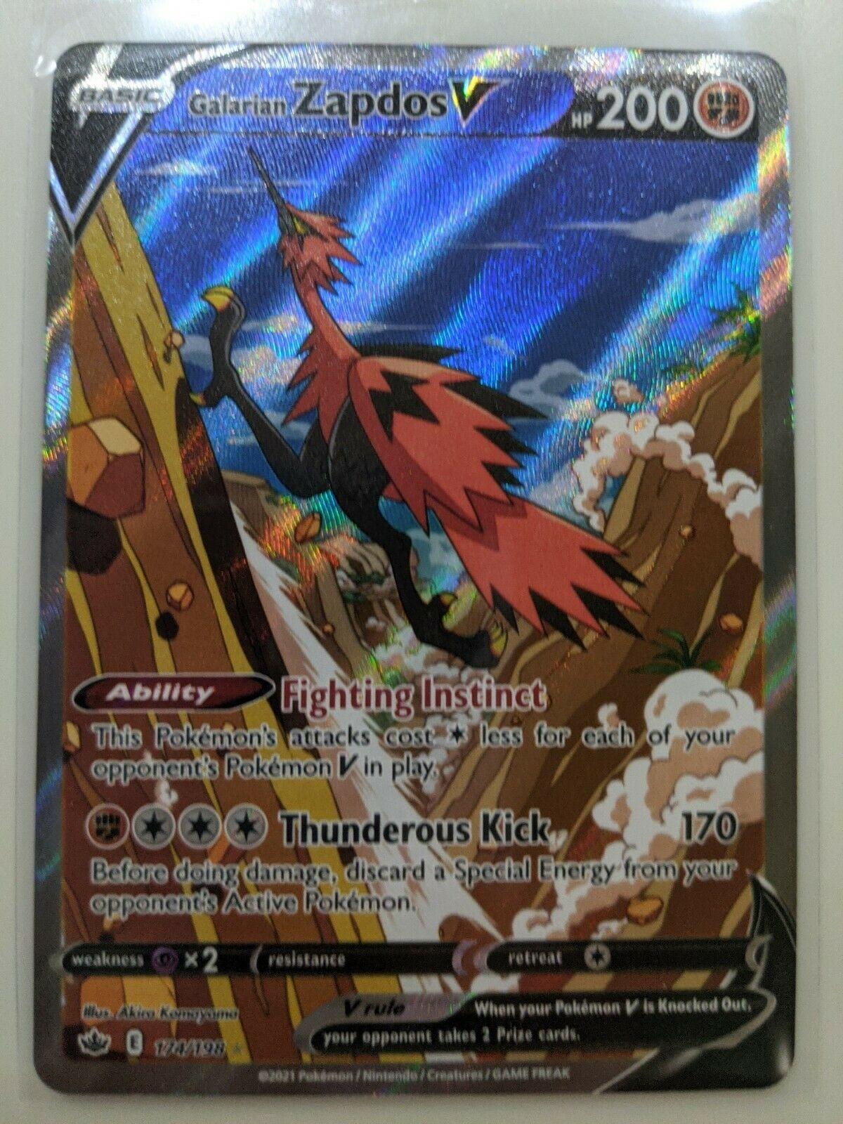 Pokemon - Galarian Zapdos V - Alternate Art - 174/198 Chilling Reign - M/NM