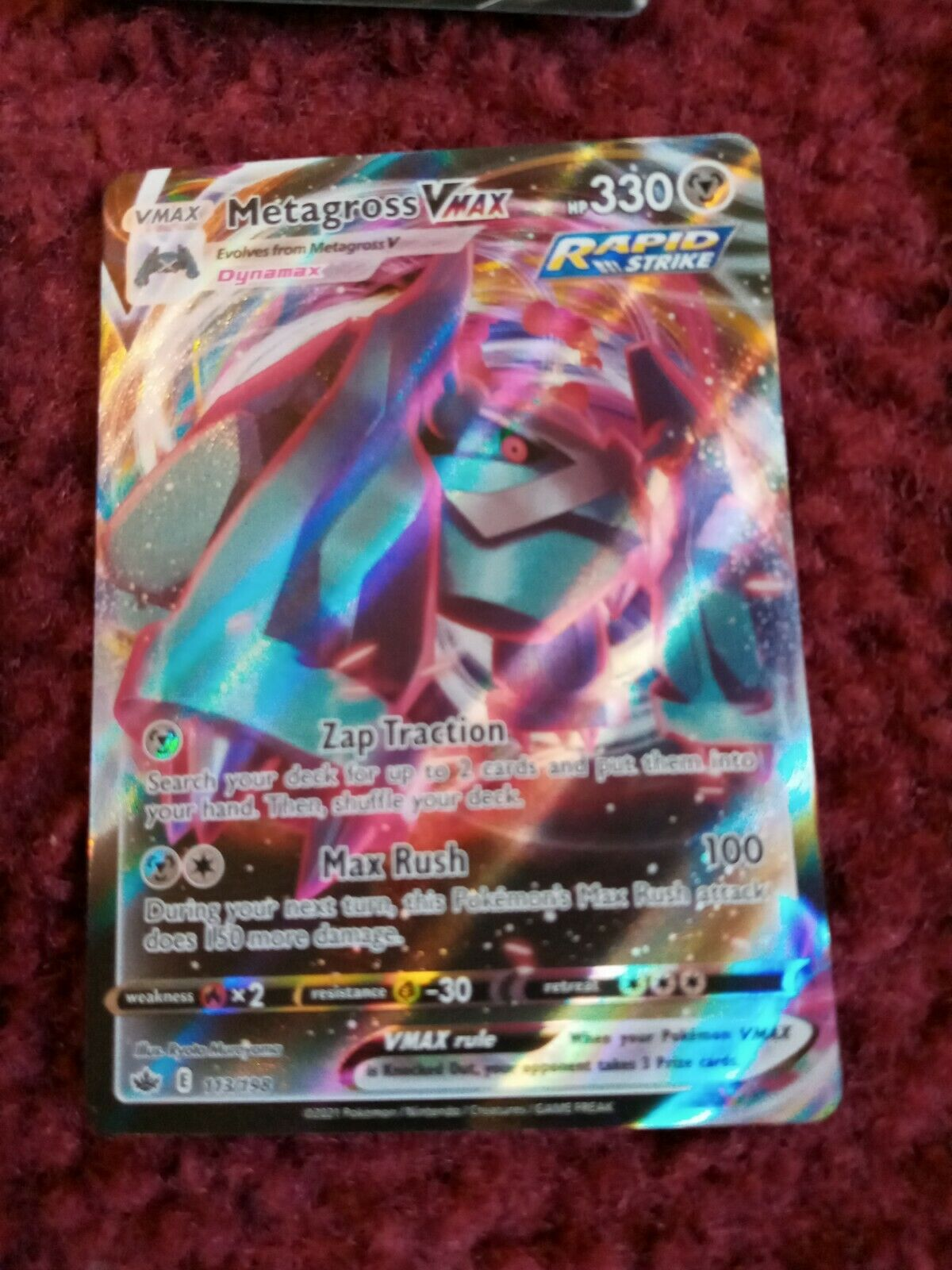 Metagross VMAX 113/198 Pokémon TCG Chilling Reign Full Art Ultra Rare Near Mint