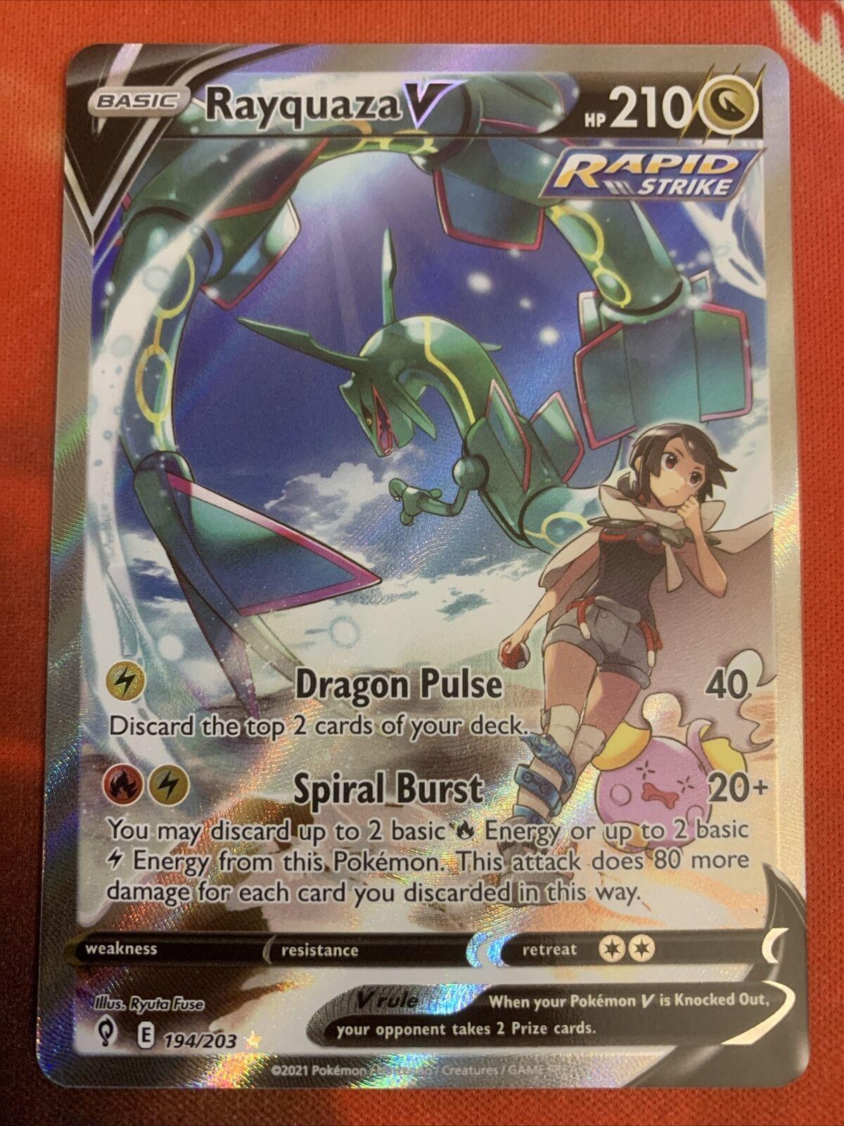 Rayquaza V 194/203 Full Alt Art Ultra Rare Pokemon - Evolving Skies Near Mint