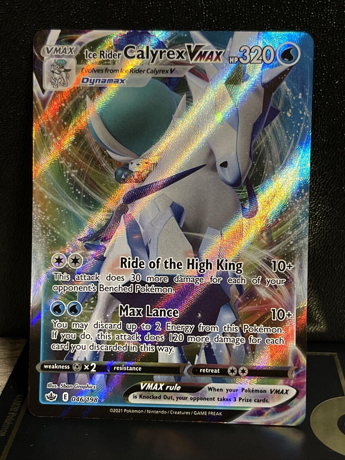 Pokemon TCG Ice Rider Calyrex VMAX (Full Art) NM/M Chilling Reign 046/198