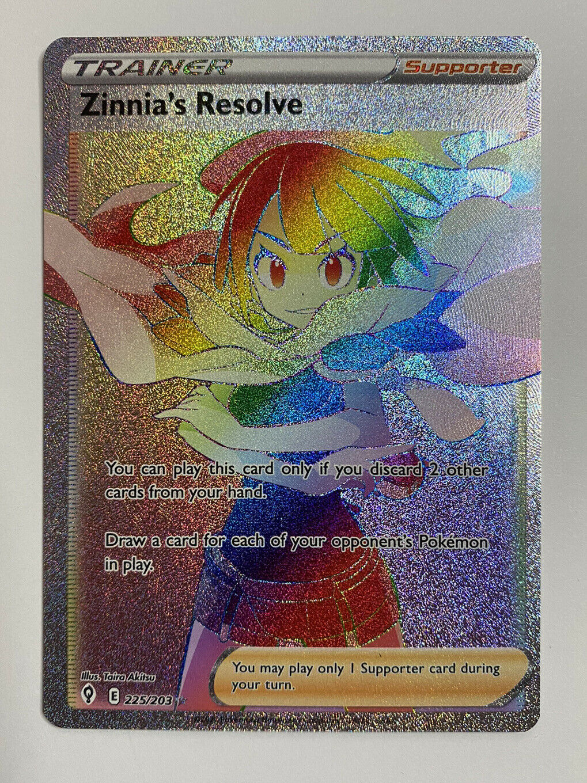 Pokemon TCG Evolving Skies Zinnia's Resolve Rainbow Secret Rare Card 225/203 NM