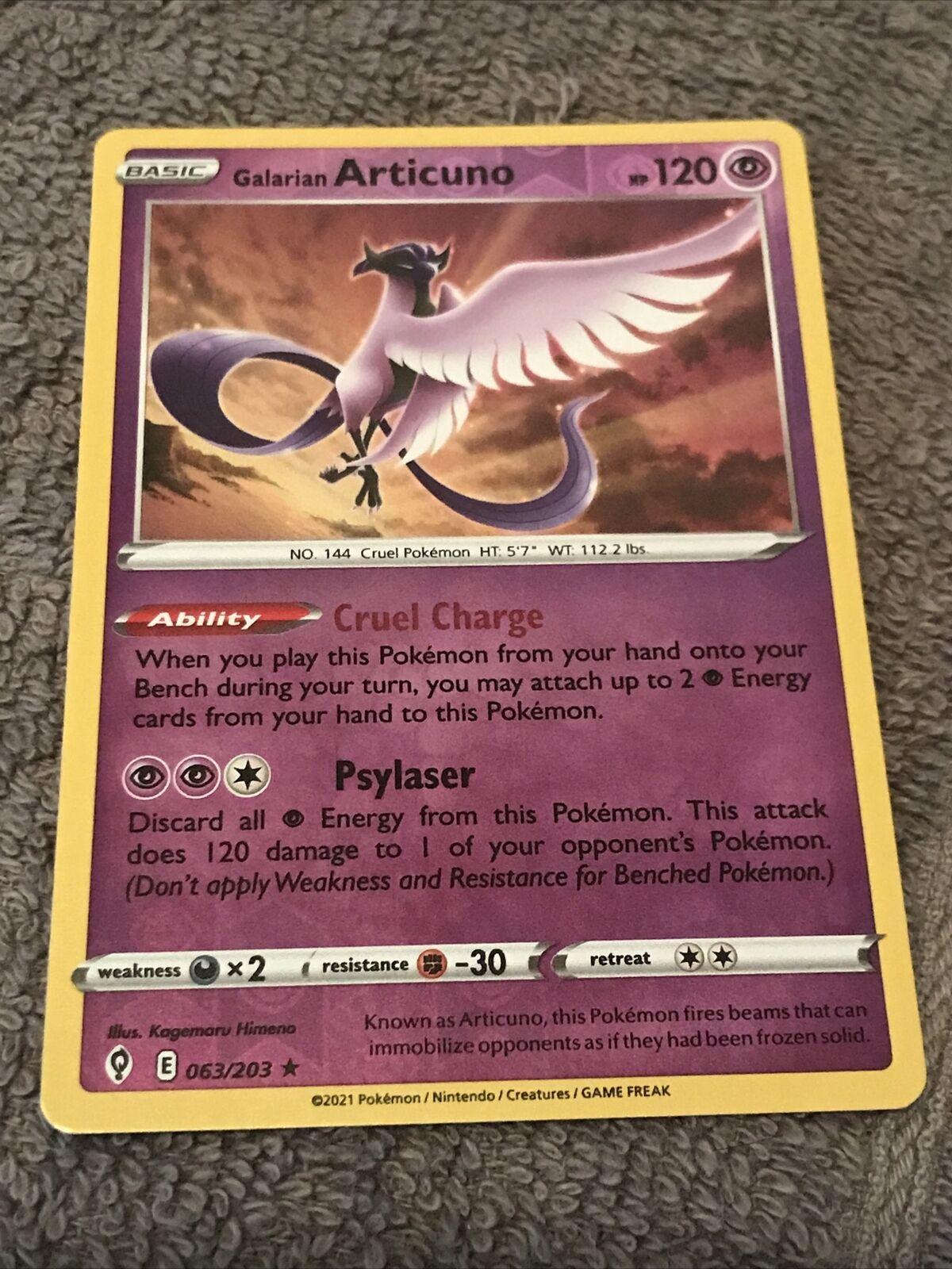 Galarian Articuno Reverse Holo 063/203 Evolving Skies Near Mint Pokemon 2021