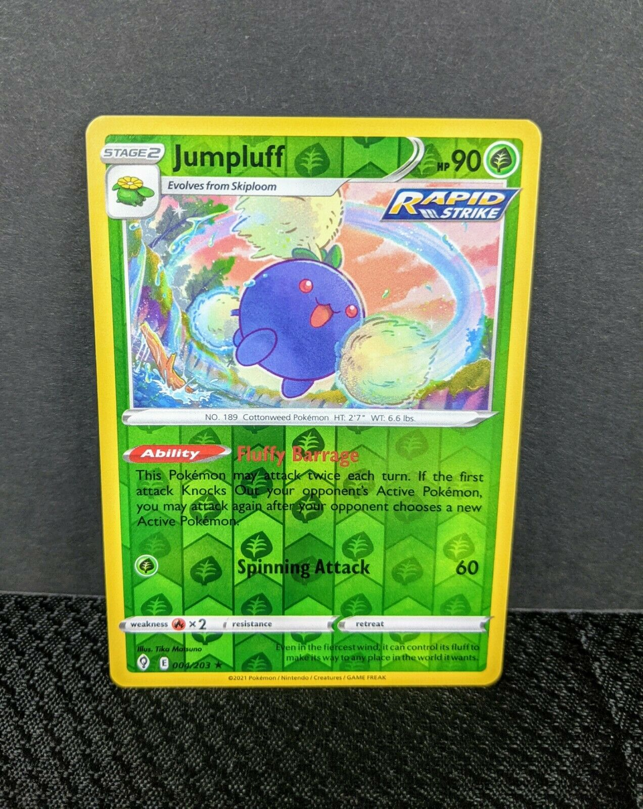 004/203 Jumpluff Reverse Holo Rare Evolving Skies Pokemon TCG 2021