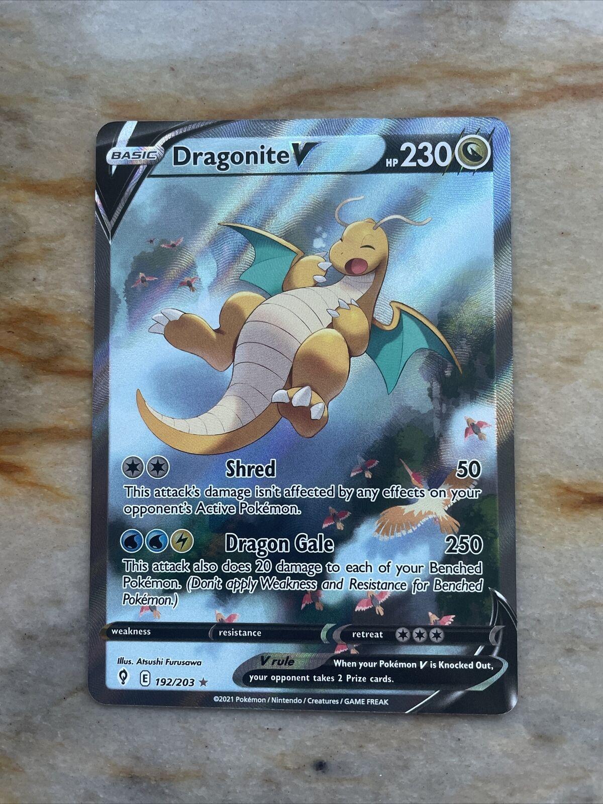 Dragonite V - 192/203 - Alternate Full Art Pokemon Evolving Skies M/NM