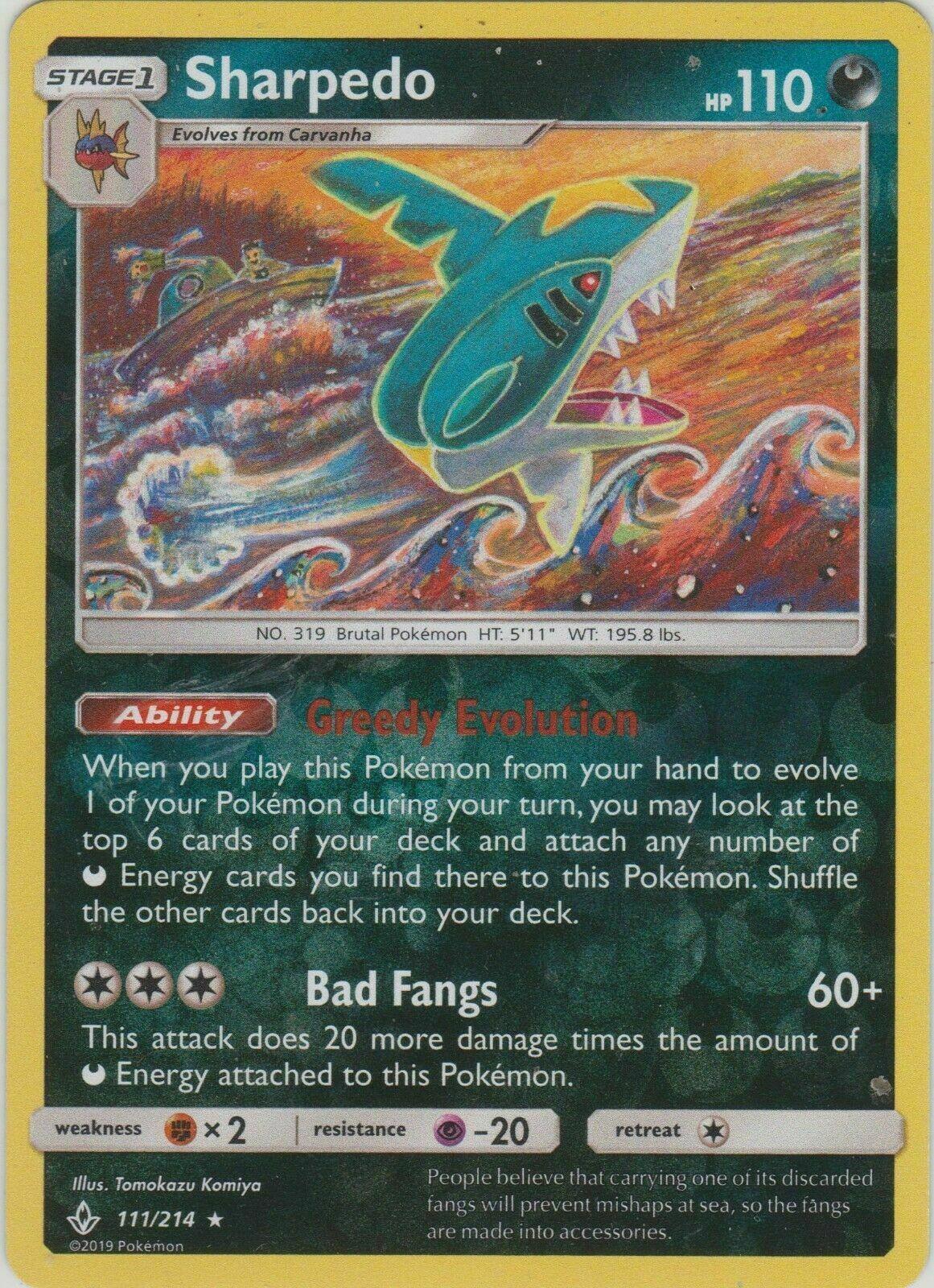 Sharpedo 111/214 Unbroken Bonds Rare Near Mint NM Pokemon DNA GAMES