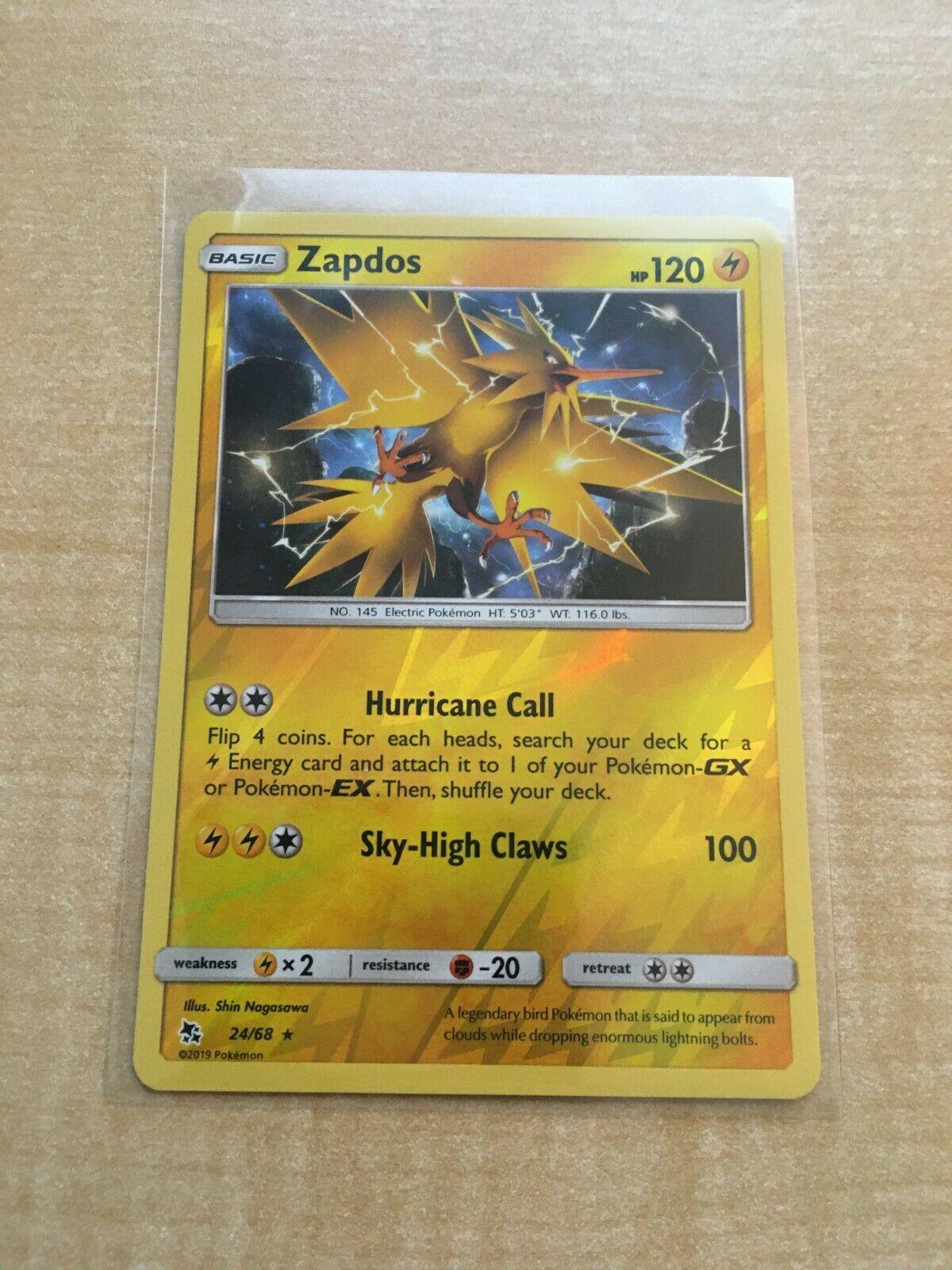 Pokemon Card   ZAPDOS  Reverse Holo Rare  24//68   HIDDEN FATES  *MINT*