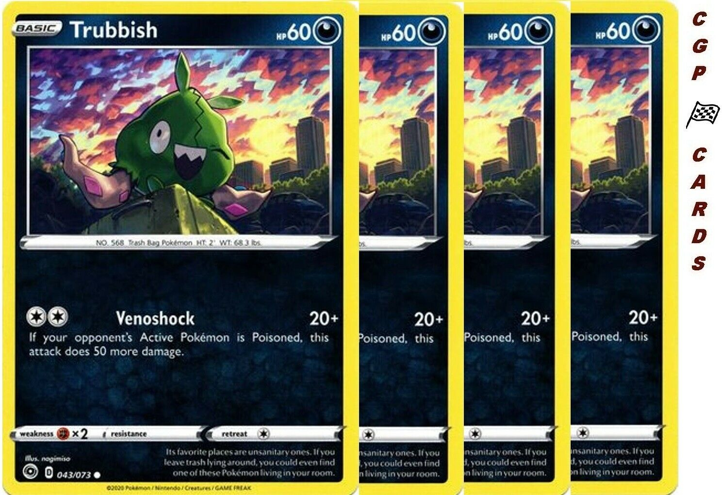 SWSH CHAMPION/'S PATH TRUBBISH 043//073 COMMON REVERSE Pokemon