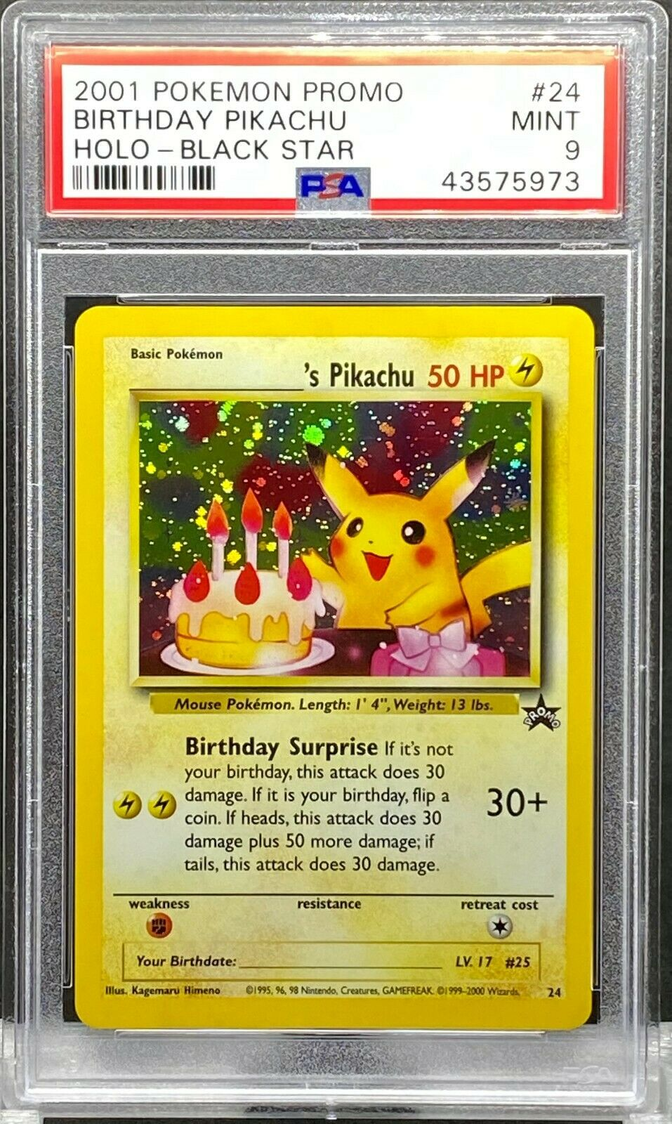 PSA 6 MINT 6 POKEMON BLACK STAR PROMO BIRTHDAY PIKACHU HOLO CARD #6 WOTC